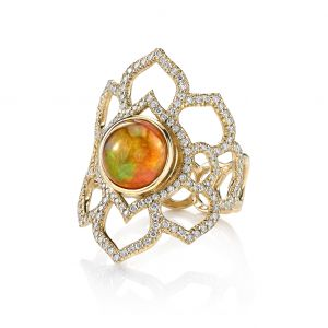 Fire Opal Orchid Ring